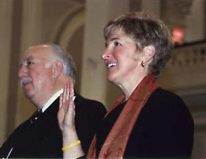 Debora being sworn in on January 6, 2005. Next to her is Councilor Raymond Wieczorek